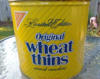 Vintage yellow Wheat Thins Limited Edition Nabisco tin / 1987 Nabisco tin / vintage advertising tin