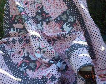 Pink and gray baby girl quilt with fabric by Michael Miller It's A Girl Thing with elephants, giraffes, hippos / pink and gray baby quilt