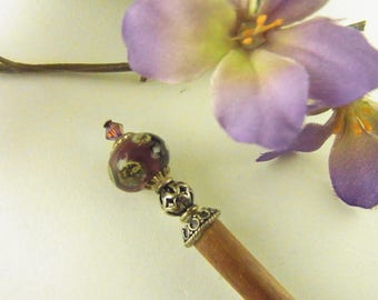 Purple Lampwork Hair Stick with Sterling Silver