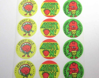 Vintage Eureka Strawberry Scratch 'n Sniff Stickers on Sheet Strawberries Ice Cream Cone