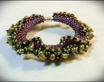 CLEARANCE SALE - Olive green pearls, olive and luster raspberry colors -  Atlantis Bracelet - designed by Hannah Rosner