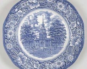 Vintage Staffordshire Liberty Blue  Plate, Independence Hall, Liberty Blue Plate, Commemorative Plate, 1975-1981 Discontinued