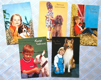 set of 5 vintage postcards / child with animal / 70s / unwritten / kitsch / greeting card / retro postcard / birthday card / get well card