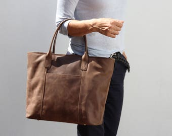 Large Leather Tote, Leather Purse, Rustic Brown Leather Bag