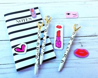 Diamond Top Ballpoint Pen with Hearts