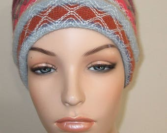 Pillbox Hat Cancer, Chemo Hat Striped Acrylic Knit Warm Hat