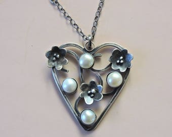 Valentine Pearls and flowers heart oxidized sterling silver romantic gothic antique necklace