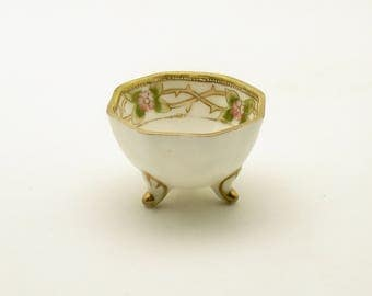 Antique Nippon Open Salt Cellar Nut Dish Hand Painted Footed Candy Dish Ring Holder
