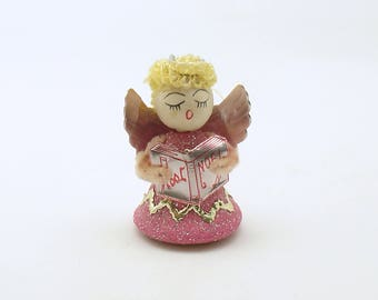 Vintage Christmas Angel Caroler Noel Hymnal Pink Angel Spun Cotton Christmas Decoration