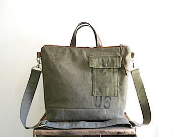 Recycled military canvas ltote, crossbody bag - eco vintage fabrics