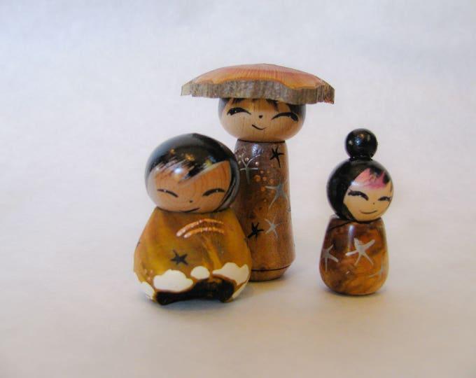 Miniature Kokeshi **new work** set of three