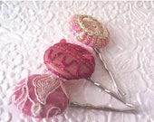 CLEARANCE - Pink embroidered hair pins, fabric hair pins, round hair pins