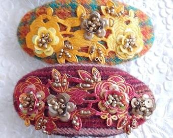 CLEARANCE - Wool barette, bridal barrette, beaded barrette, fabric barrette, oval barrette, hair accessory, fashion accessory