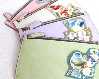 Flat lined zipper pouch,faux suede clutch with bird applique, fashion accessory, womens accessory