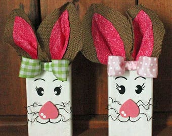 The Bunny Sisters Wood Decor