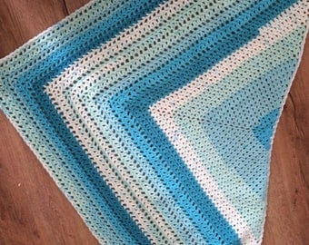 Crochet shawl pattern, Dive In Shawl,  top down, Caron Cakes, easy crochet, yarn cake pattern, self striping, PDF instant download turquoise