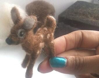 Miniature Felted Fawn Needle Felting