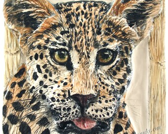 Leopard Cat sculptured Portrait Ceramic 3-d Tile Alexander Art IN Stock