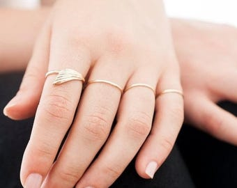 40% Off 14k Gold Freedom Ring   Wing Ring   Nature Inspired Jewelry  Gold Statement Ring