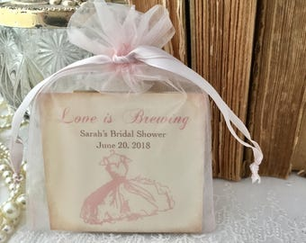 Bridal Shower Favors, Bridal Shower Tea Bags, Fully Assembled Thank You Blush Pink Set of 10