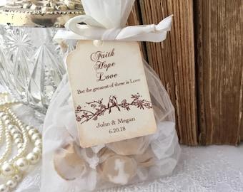 Faith Hope Love Favor Bags, Love Bird Favor Bags, Wedding Bags and Tags, Set of 10