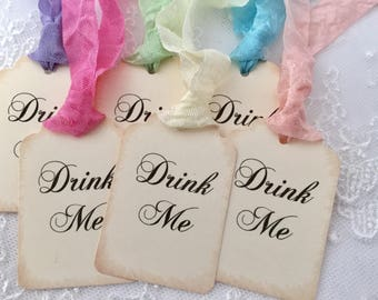 Drink Me Tags, Alice In Wonderland Party Favor Tags, Baby Shower, Bridal Shower, Birthday Set of 10