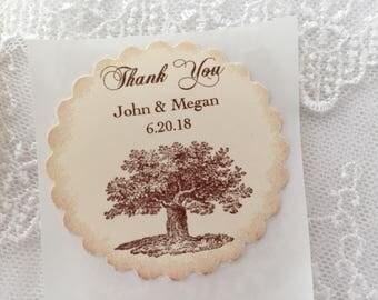 Oak Tree Stickers, Tree Stickers, Wedding Tree Stickers Personalized Wedding Sticker Labels, Set of 10