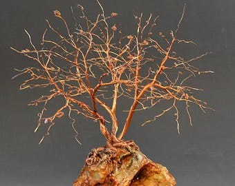 Hand Twisted Metal Copper Wire Tree Art Sculpture  - 2308 - FREE SHIPPING