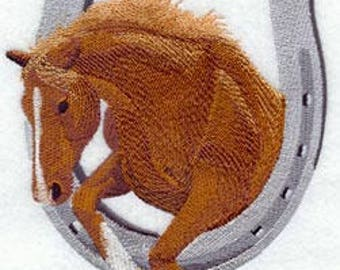 Horse & Horseshoe Embroidered Hand Towel