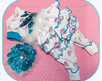 Pajamas Pet Clothing To Order Ruffled  Cupcakes Jammies