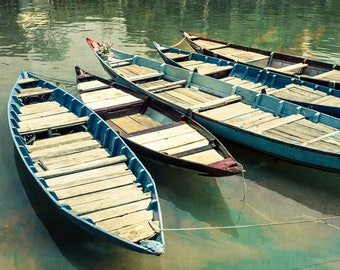 Boat photo, wooden boats, Hoi An Vietnam, travel photography, muted tones, vintage feel, wood rowboats, nautical theme, southeast Asia