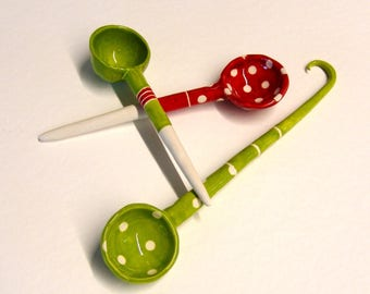 Christmas ceramic Serving Spoons, set of 3, stripes whimsical pottery spoons set red & lime green Hostess Gift