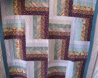 Vintage Quilt Pink Green Teal Salmon Rose Blue Wallhanging Tablecloth 71 x 50 Shabby Romantic Chic Cottage Farmhouse Country