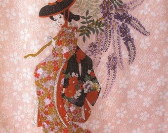 "Vintage Oriental Geisha Girl Cotton Scarf 17.5"" x 17.5"" Japan Retro Free US Shipping"