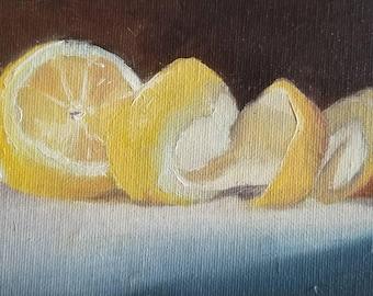 """Oil Painting 4x6"""" Stilllife Lemon Still Life Original"""