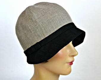 Linen Cloche Hat in Taupe and Black - 1920s Cloche - Women's Hat