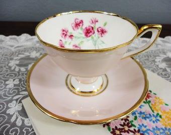 Taylor & Kent Light Pink Magenta Floral English Bone China Teacup and Saucer