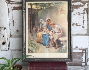 Vintage Religious Print Harold Copping - Childhood of Timothy Eunice Lois - Framed Biblical Image