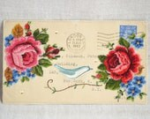 ARTWORK original embellished 1943 British envelope  - bird and roses