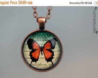 ON SALE - Papillon (RED) : Glass Dome Necklace, Pendant or Keychain Key Ring. Gift Present metal round art photo jewelry by HomeStudio