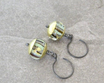 lampwork glass earrings, mixed metal earrings, sterling ear wires, metalwork earrings, wire wrap earrings, boho dangle earrings