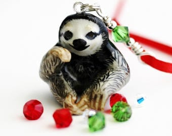 Three Toed Sloth Small Christmas Ornament Green Swarovski Crystal Wire Wrapped Handmade Tree Ornament by Hendywood