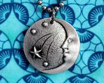 Moon and Stars Necklace, Moon Face Charm, Stars Pendant, Astronomy Jewelry, Repurposed Pewter Domed Button Jewelry by Hendywood