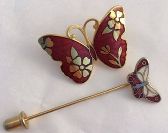 Scarlet red butterfly cloisonné brooch and stickpin set two lovely pins!