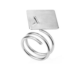 Matt ring / silver, cocktail ring, silver statement ring, minimalist silver ring, architectural Ring, unique rings for her, contour studio