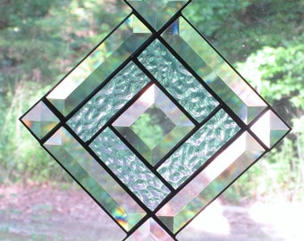 Stained Glass Suncatcher, Beveled Clear Glass Square with Light Blue Inner Border