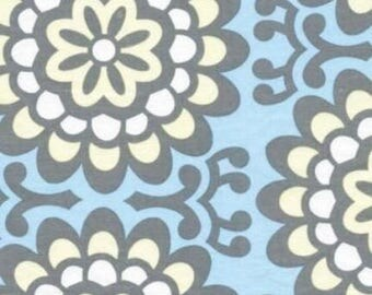 OOP Amy Butler - Wallflower in Blue - by the Yard - Blue and Gray - Designer Fabric - Lotus Collection