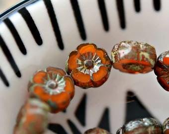 NEW! Sun-burnt Country - Premium Czech Glass Beads, Opalite Burnt Orange, Picasso Finish, Hawaiian Flowers 9mm - Pc 10