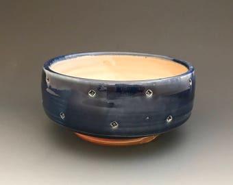 Blue Bowl - Stamped Decoration - Dark Blue Glaze - Ron Philbeck Pottery