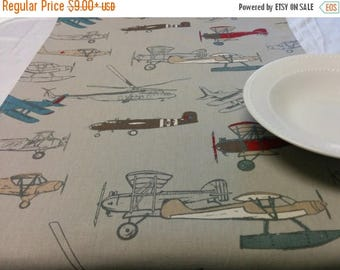 ON SALE ANTIQUE Planes Table Runner-  Choose size  Runner Colorful Vintage and Modern Airplanes Print Wedding Bridal Home Decor Party